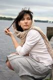 Kobieta blisko nadbrzeżnego Fotografia Royalty Free