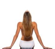kobieta blond z włosami rozciągania kobieta fotografia royalty free