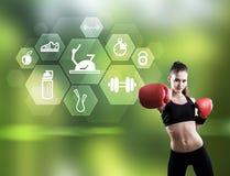 Kobieta bokser i heksagonalne sport ikony Zdjęcie Stock