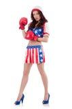 Kobieta bokser w mundurze obraz royalty free