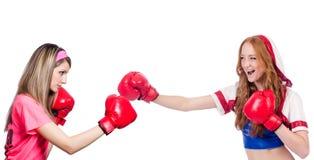 Kobieta bokser w mundurze z USA symbolami Obraz Stock