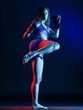 Kobieta boksera boks odizolowywający zdjęcia stock