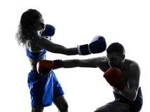 Kobieta boksera boksu mężczyzna kickboxing odizolowywam Obraz Stock
