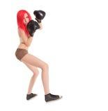 Kobieta boksuje nad bielem Zdjęcia Stock