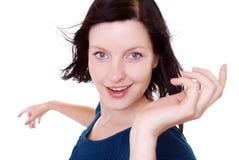 kobieta brunetki uśmiechnięta obrazy stock