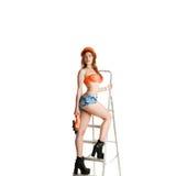 Kobieta budowniczy z świderem zdjęcia stock