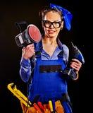 Kobieta budowniczy z budów narzędziami Obraz Stock