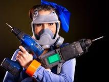 Kobieta budowniczy z budów narzędziami. Zdjęcie Royalty Free