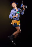 Kobieta budowniczy z budów narzędziami. Zdjęcia Royalty Free