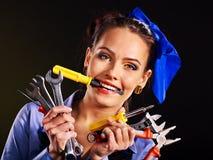 Kobieta budowniczy z budów narzędziami. Obrazy Royalty Free