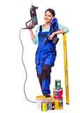 Kobieta budowniczy z budów narzędziami. Obraz Royalty Free