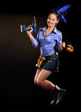 Kobieta budowniczy z budów narzędziami Obrazy Royalty Free