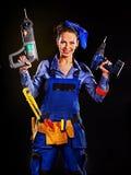 Kobieta budowniczy z budów narzędziami Fotografia Stock