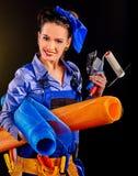 Kobieta budowniczy z budów narzędziami Fotografia Royalty Free
