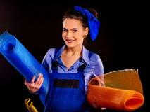 Kobieta budowniczy z budów narzędziami Obrazy Stock