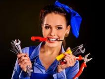 Kobieta budowniczy z budów narzędziami Zdjęcia Stock