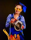 Kobieta budowniczy z budów narzędziami Zdjęcie Stock