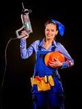 Kobieta budowniczy z budów narzędziami Obraz Royalty Free