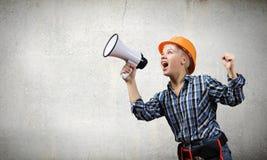 Kobieta budowniczy z megafonem Zdjęcie Stock