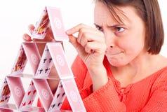 Kobieta budynku karty wierza Obraz Stock