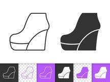 Kobieta butów czerni linii wektoru prosta ikona ilustracja wektor