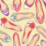 Kobieta buty ustawiający Obrazy Royalty Free