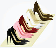 Kobieta buty ustawiający Zdjęcie Royalty Free