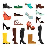 Kobieta buty w różnych stylach ściągania ilustracj wizerunek przygotowywający wektor ilustracji
