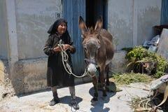 Kobieta chłop Cypr średniogórza Zdjęcia Stock