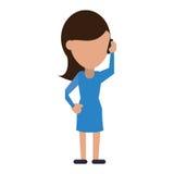 Kobieta charakter komunikuje rozmowy smartphone ilustracji