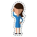 Kobieta charakter komunikuje rozmowy smartphone kropki linię ilustracja wektor