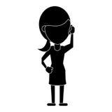 Kobieta charakter komunikuje rozmowy smartphone piktogram royalty ilustracja