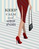 Kobieta chodzi w dół w czerwonych butach Ilustracji