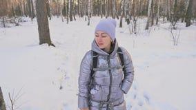 Kobieta chodzi w drewnach Podróżnik jest spacerem w brzoza lesie w miasto parku Dziewczyna chodzi w wieczór czasie z pięknym zdjęcie wideo