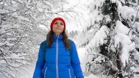 Kobieta chodzi wzdłuż ścieżki wśród pięknej zimy śnieżystego krajobrazu Jasna pogodna mroźna pogoda zdjęcie wideo
