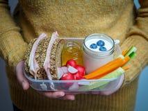 Kobieta chwytów przerwy chleba pudełko z baleronów warzywami w jej rękach i kanapką obrazy royalty free