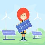Kobieta chwyta energii słonecznej panelu Plenerowy silnik wiatrowy Fotografia Royalty Free