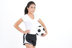 Kobieta chwyta futbol Obrazy Stock