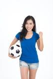 Kobieta chwyta futbol Obrazy Royalty Free