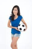Kobieta chwyta futbol Zdjęcia Stock