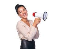 Kobieta chwyta głośnik zdjęcia royalty free