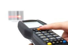 Kobieta chwyta przeszukiwacz i obrazu cyfrowego barcode z laserem Obrazy Royalty Free