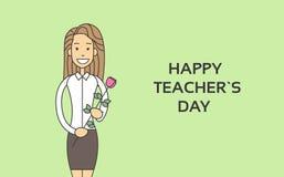 Kobieta chwyta róży kwiatu nauczyciela dnia Wakacyjnego kartka z pozdrowieniami Cienka linia Obrazy Royalty Free