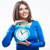 Kobieta chwyta zegarek na białym tle.  kobieta model. Obraz Royalty Free