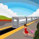 Kobieta chybienie pociąg ilustracja wektor