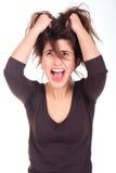 Kobieta ciągnie jej krzyczeć i włosy Zdjęcie Stock
