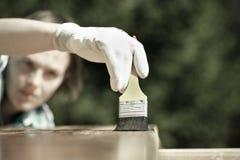 Kobieta cieśla sprawdza świeżo malującego drewno Obrazy Stock