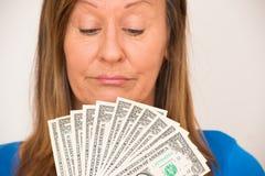 Kobieta cieszy się dolar amerykański notatki Obraz Royalty Free