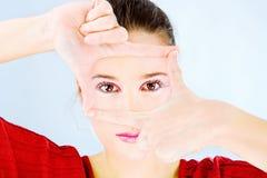 Kobieta cropping widok zdjęcie royalty free
