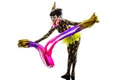 Kobieta cyrkowego tancerza wykonawcy arlekińska sylwetka Zdjęcie Stock